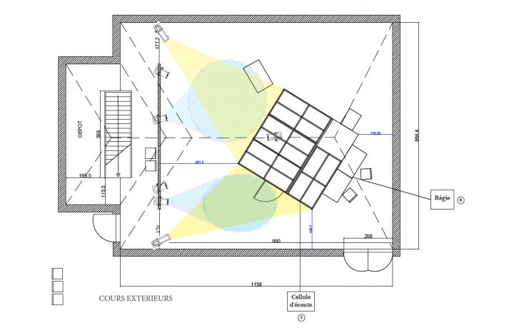 <br /> Plan de la cellule et de l'installation lumière — Laboratoire de l'écoute #1 © Laurine Firmin