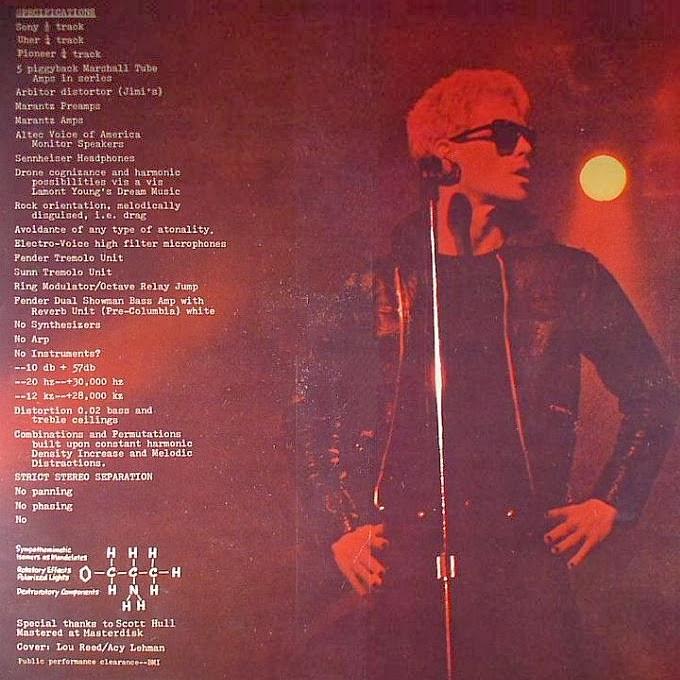 Dos de la pochette de l'album Metal Machine Music de Lou Reed (RCA Records, 1975).